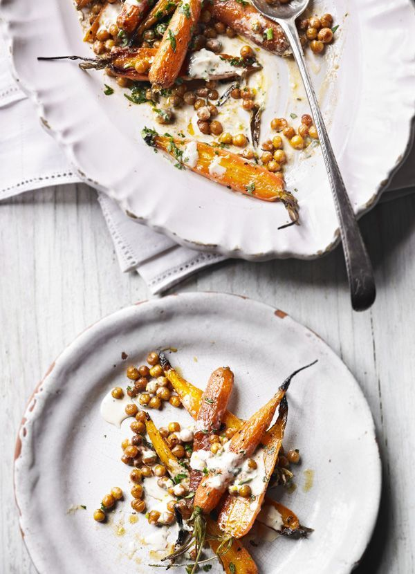 Roast carrots with crisp chickpeas and tahini