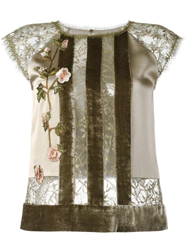 Alberta Ferretti полосатая блузка с цветчоным кружевом