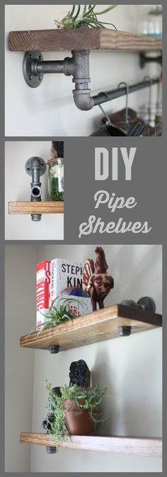 Wow! Professional looking industrial shelves that anyone can make.  All you need is this tutorial, pipe, wood, and screws.