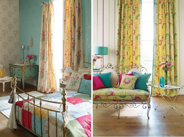 Decorar interiores con cortinas floreadas coloridas - Ideas para decorar interiores ...