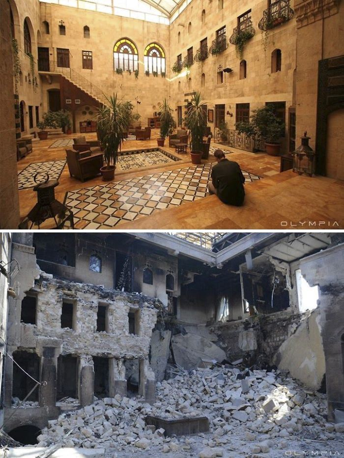 10 photos of the same sites on the city of Aleppo, before and after the war in Syria. It is one of the world's oldest cities in the world.