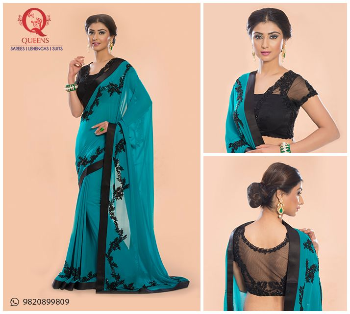 Make your day bright with this turquoise blue and elegant black saree. To know more, whatsapp us on 9820899809.  #QueensEmporium #Saree #Designerwea