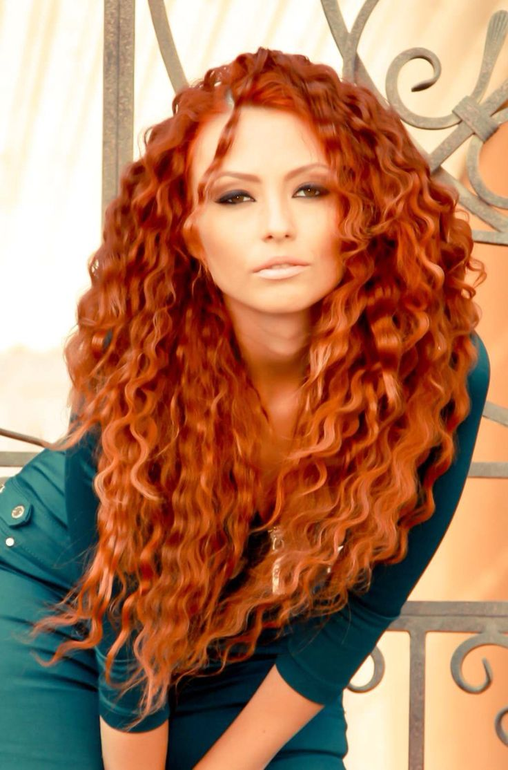 Curly hair nude redhead girl