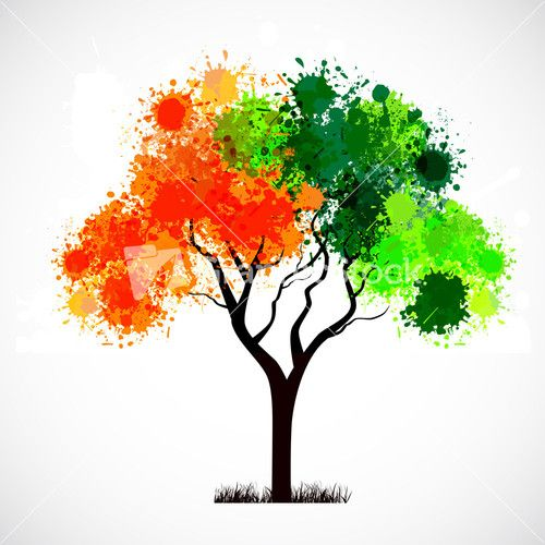 Abstract Tree With Leafs In Indian Flag Color.