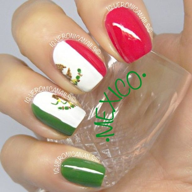 Iheartnailart Mexican Flag Design Nail Designs And Art In 2018 Pinterest Nails