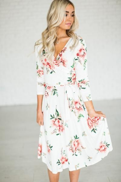 Rose Wrap Midi Dress - Ivory {limited}