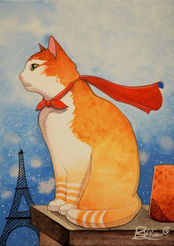 Les toits de Paris du chat