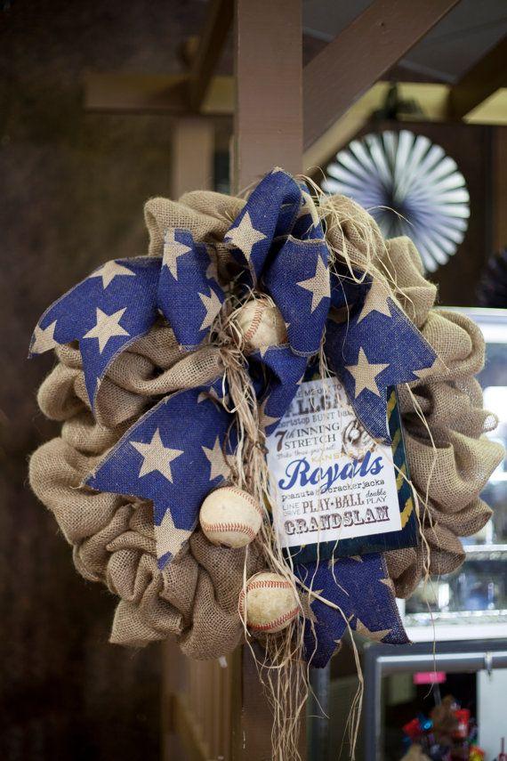 Royals Burlap Baseball Wreath by TammysFlowers on Etsy