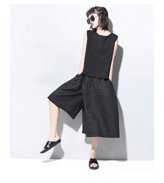 New Arrival Fashion Irregular Wide Leg Pants Women Capris Pants Elastic Waist Solid Black Ramie Loose Casual Cropped Trousers