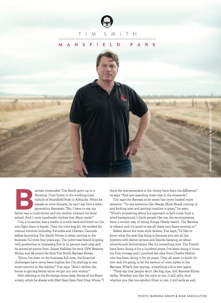 WBM July/August Internal. Article on Tim Smith. Photo: Barossa Grape and Wine Association.