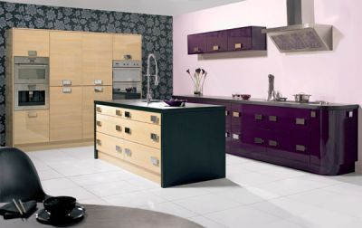 Reflections high Gloss Aubergine Complete Kitchen Cabinets