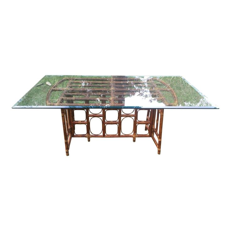 Vintage Rattan Table with 1/2 Inch Beveled Glass - Image 1 of 6
