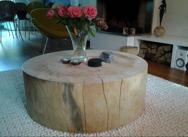 Stoere salontafel, grote boomstam van rivahout.