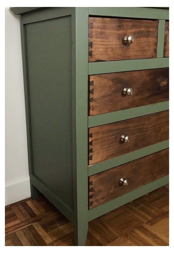 Rustic Green And Wood Chest Of Drawers Hand Painted Green And Natural Wood Tall Drawers Tall C Furniture Renovation Furniture Makeover Refurbished Furniture Natural wood chest of drawers
