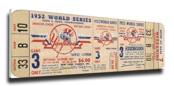 1952 World Series Game 3 Canvas Mega Ticket - New York Yankees