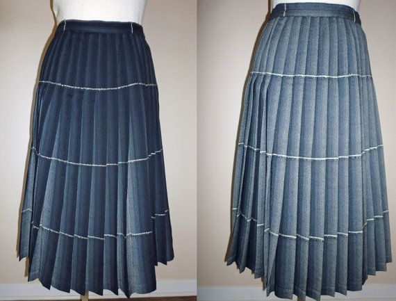 Pleated Wool Skirt Reversible Highland by MaisonChantalMichael