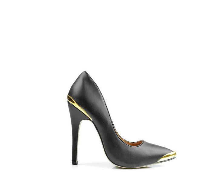 Czarne #szpilki metalowe wstawki - Buty i Torebki