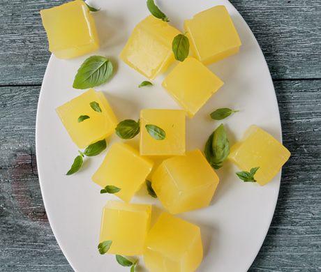 epicurious.com lemonade jelly/jello bites         Lemonade Jelly with Basil Recipe  at Epicurious.com