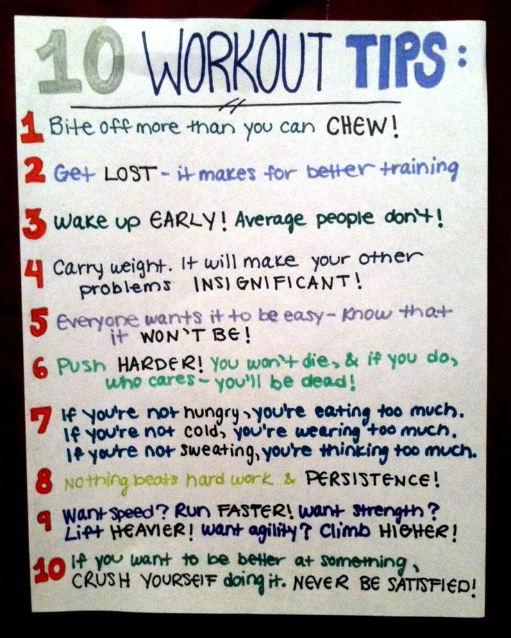 Workout tips from the Spartan Race handbook :)