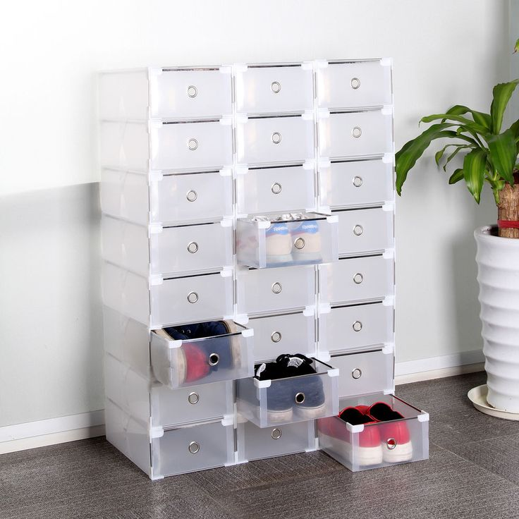 24 Foldable Plastic Shoe Boxes Organiser Drawer Stackable Storage Box Transparen in Home, Furniture & DIY, Storage Solutions, Shoe Storage | eBay!