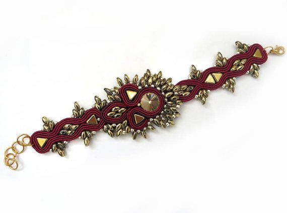 Unique maroon gold Soutache Cuff Bracelet burgundy by sutaszula
