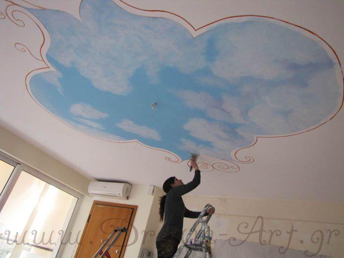 Ειρήνη Μωυσιάδου ζωγραφική σε οροφή