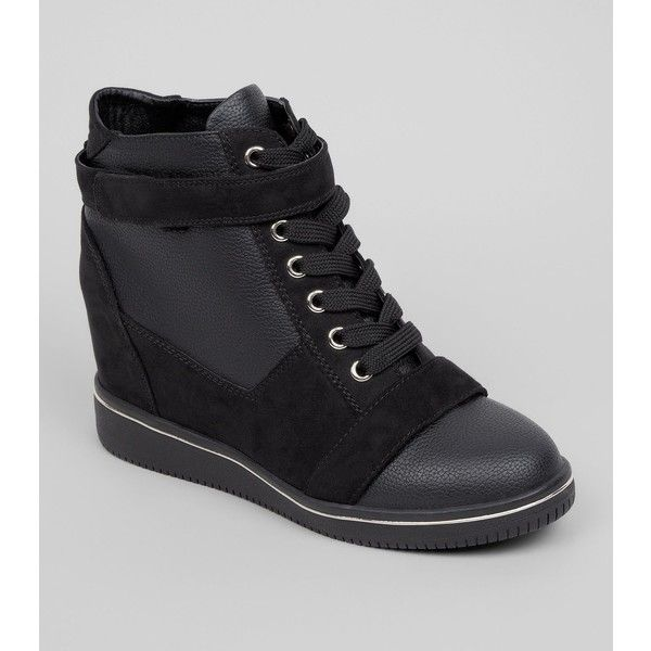 Teens Black Suedette Trim School Wedge Trainers ($21) ❤ liked on Polyvore featuring shoes, sneakers, black, wedge sneaker, wedged sneakers, ankle strap wedge shoes, black ankle strap shoes and wedge shoes