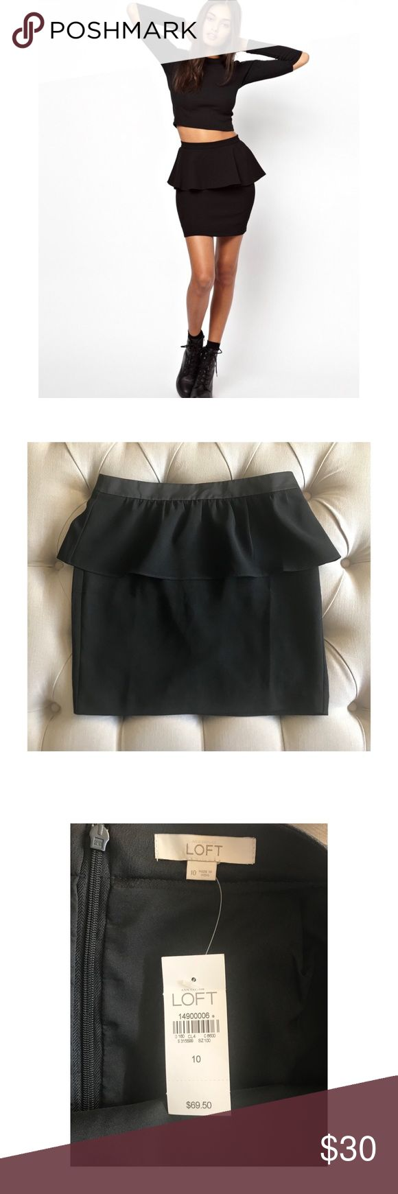 NWT Anne Taylor Loft Black Peplum Skirt NWT Anne Taylor Loft Peplum Skirt Black in Color  Size 10 Polyester Material Back Zipper Detail Great piece to add to your closet! ** in the pics it looks like there's pleating on the Skirt however these are just fold lines ** LOFT Skirts Mini