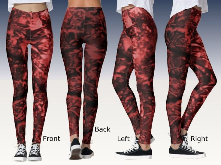 Fancy Leggings with Digital Art Image of Red and Black Leaves