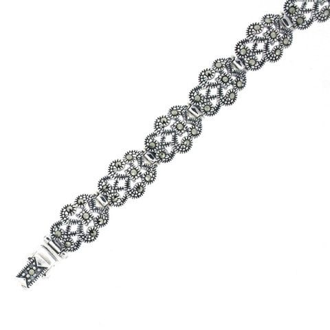 Marcasite Silver Bracelet - Vintage Art Deco Inspired Jewellery - Chicago Marcasite Jewellery