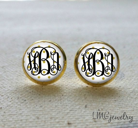 https://www.etsy.com/listing/205944837/gold-monogram-earrings-gold-polka-dot