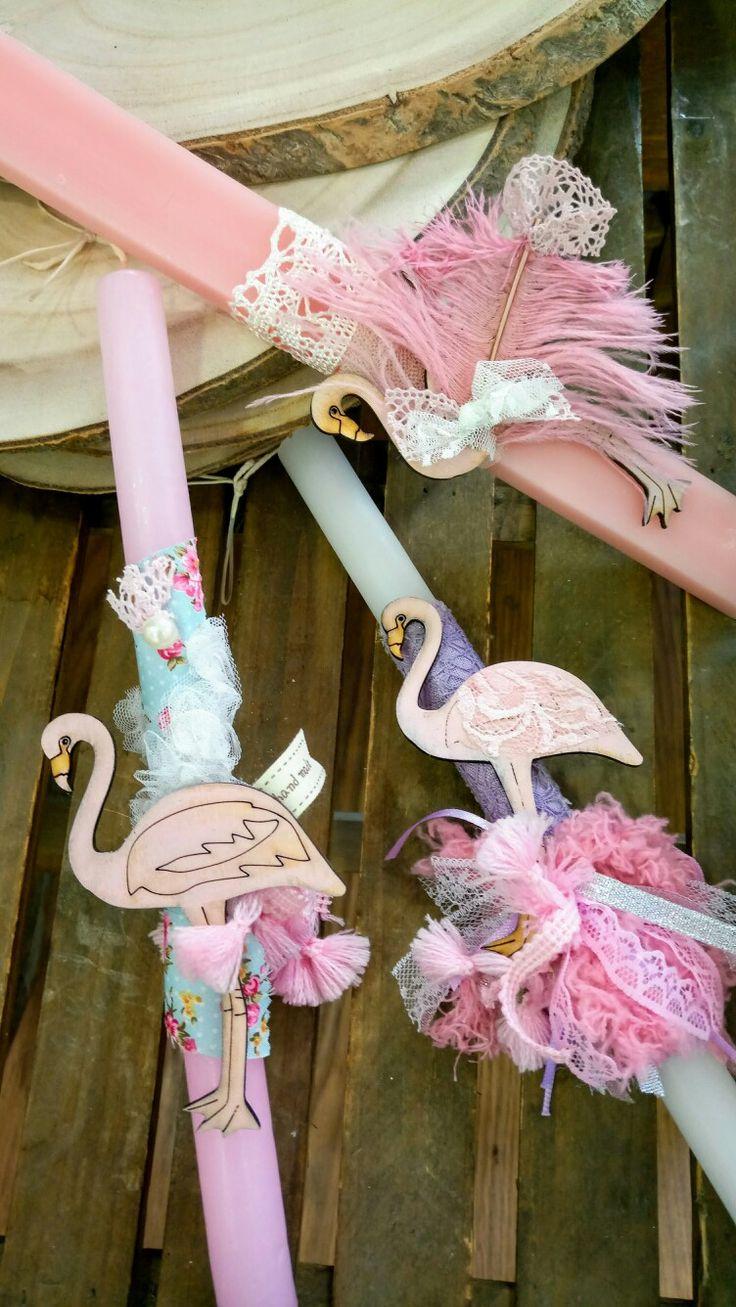 Χειροποίητες λαμπάδες για το Πάσχα από το ΑΡΤοποιείν με flamingos. Καλαμαριά,Θεσσαλονίκη