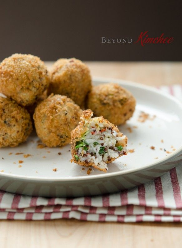 Cheesy Rice Balls - turned out light and fluffy with a bit of crunch - served with marinara sauce.