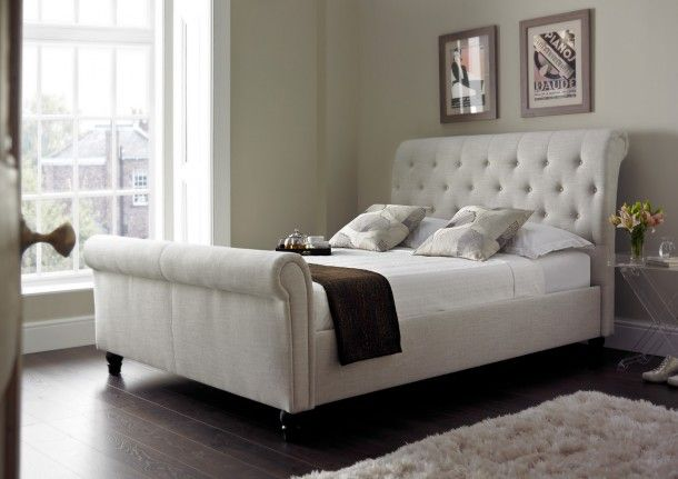 Harmony Upholstered Sleigh Bed Natural With Images