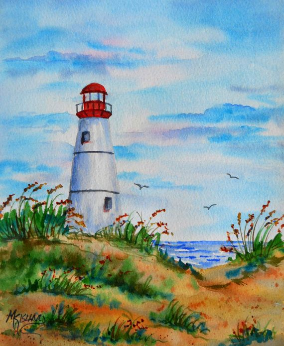 White Lighthouse Watercolor Beach Coast By Colorado Artist