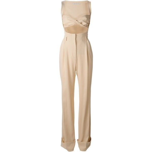 Alessandra Rich Pinstripe Bodice Jumpsuit (3,260 CAD) ❤ liked on Polyvore featuring jumpsuits, jump suit, alessandra rich, beige jumpsuit and jumpsuits & rompers