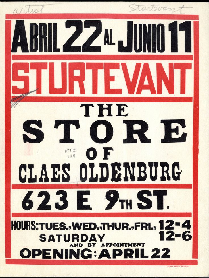 "Some excellent ""found"" typography by Elaine SturtevantPostcard invitation for The Store, New York, 1967 Sturtevant directly appr..."