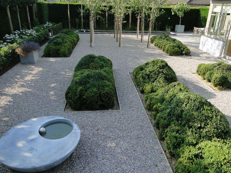 Thomas le Plat: a modern type garden with pebbles instead of lawn and clear structures of evergreen plants