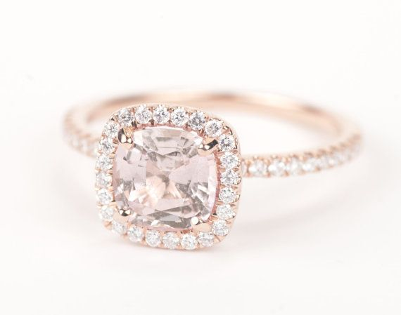 Certified Peach Pink Champagne Square Cushion Sapphire Diamond Halo Engagemen