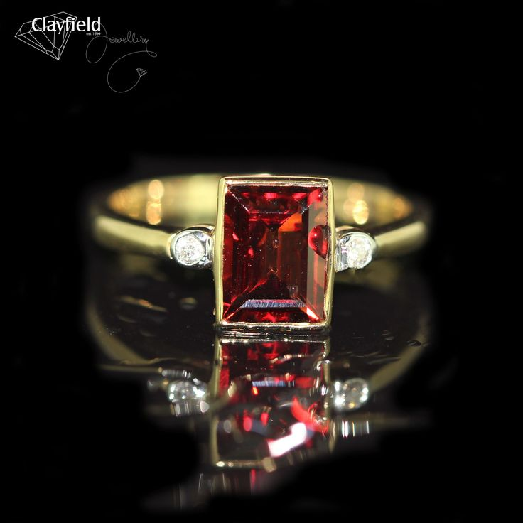 Striking emerald cut garnet and diamond ring by Clayfield Jewellery in Nundah Village - North Brisbane