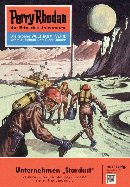 Sie kamen aus den Tiefen der Galaxis - nie hatte man mit ihnen gerechnet... Erscheinungsdatum: 08.09.1961 Flammenspeere durchzucken die Nacht, als die STARDUST inmitten einer Feuersäule abhebt und die Erde hinter sich lässt. Ihr Ziel ist der Mond. Chefpilot und Expeditionsleiter der STARDUST ist ein Major der US Space Force. Sein Name: PERRY RHODAN!