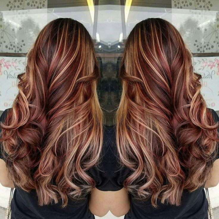 Red hair, balayage, brown hair, blonde highlights, contrast, long hair,