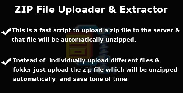 Zip File Uploader and Automatic Extractor . This is a fast script to upload a zip file to the server &that file will be automatically unzipped. Instead of  individually upload different files & folders just upload the zip file which will be unzippedautomatically  and save tons of time. Suppose a user wants to upload a magento setup so it