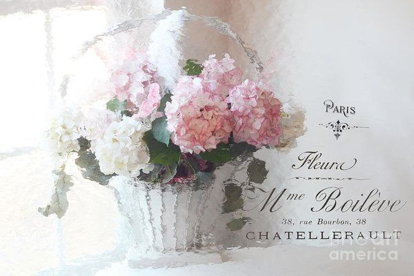 Pink Hydrangeas In Basket Art Print featuring the photograph Paris Shabby Chic Romantic Pink White Hydrangeas In Basket - Paris Romantic Basket Of Flowers by Kathy Fornal