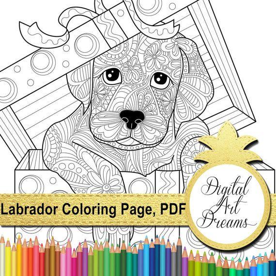 Labrador Coloring Page Adults Dog Colouring by DigitalArtDreams
