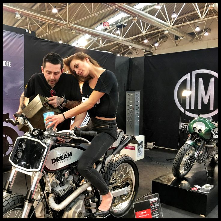 Nikita on Dream's Tracker in our stand in Motodays In Rome. #motorcycles #rome #caferacer #scrambler #flattrack #motodays #special #fashion #style