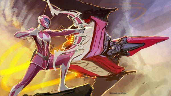 Pink Ranger and Pterodactyl Dinozord by nebezial - Mighty Morphin Power Rangers Art