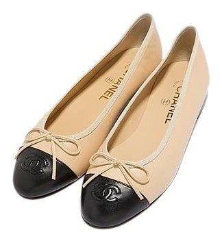 Chanel Ballet Ballerina Flat Cap Toe Black Beige Flats