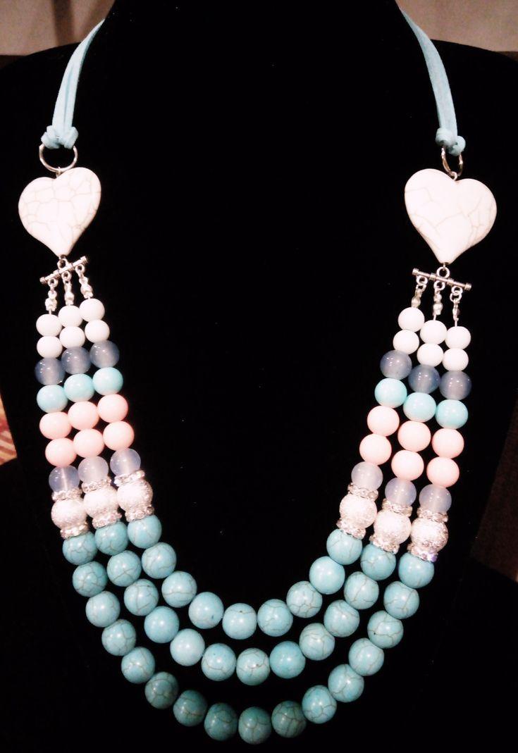 Triple multiple colour heart necklace