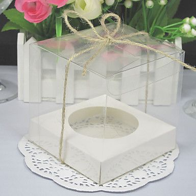 Transparent Cupcake Boxes With Base Inside (Set of 12)  – USD $ 4.99 For Pupcakes at an event?